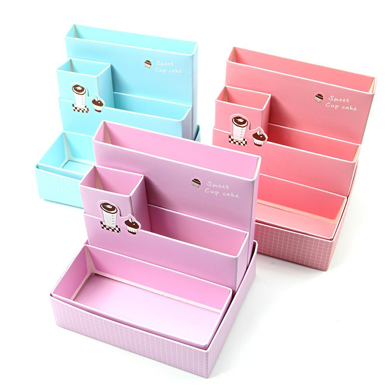 Paper Board Storage Box Desk Decor Stationery Makeup