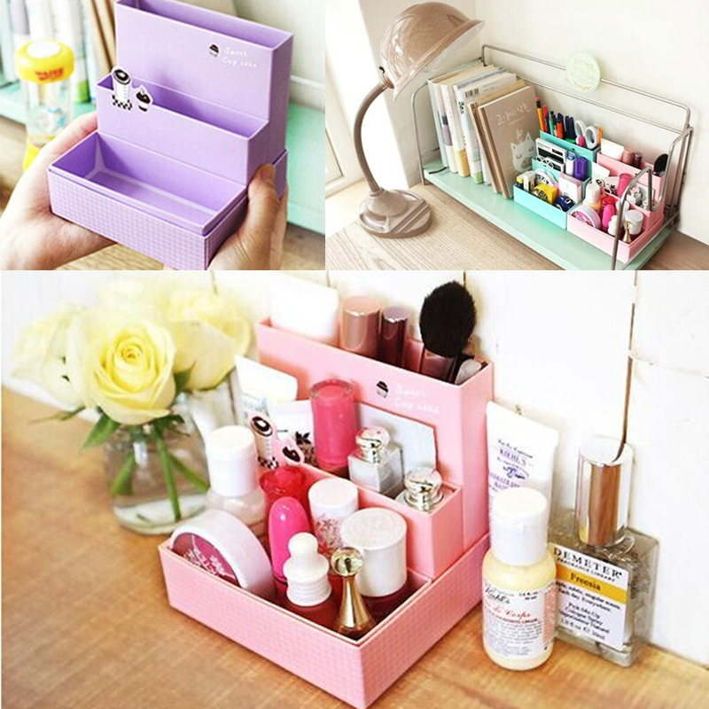 paper board storage box desk decor stationery makeup cosmetic organizer case diy ebay. Black Bedroom Furniture Sets. Home Design Ideas