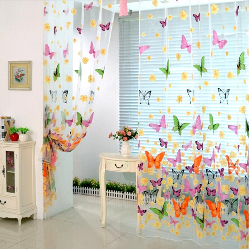 Mariposa cortina flor ventana puerta panel balc n visillo for Cortinas de cocina originales