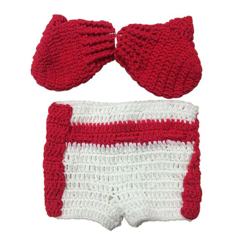 Newborn Baby Crochet 2pcs Suit Set Knit Boxing Gloves Pants Costume Photography