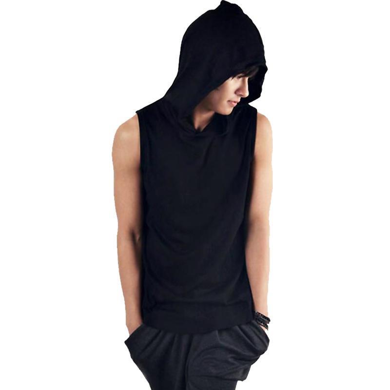 men sleeveless hoodie t shirt slim fit tank top tee summer. Black Bedroom Furniture Sets. Home Design Ideas