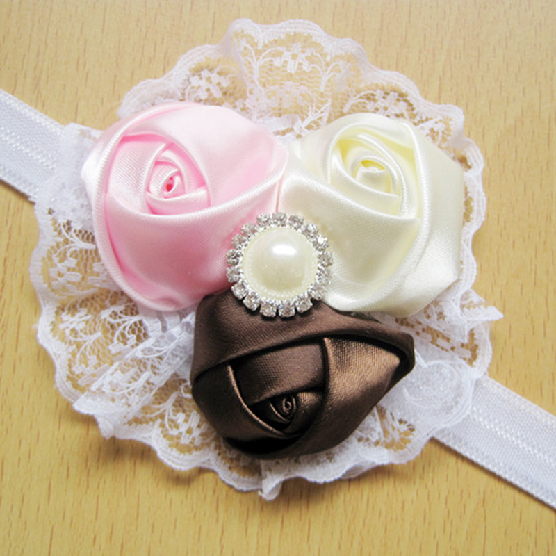 Baby Vintage Lace Flower Hairband Soft Elastic Headband Hair Accessories