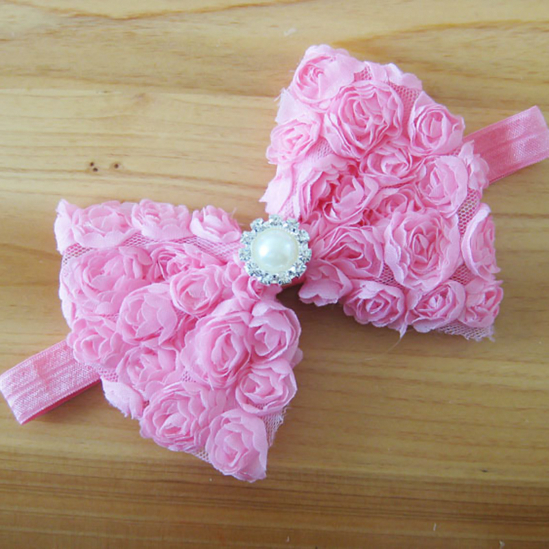 Baby Girls Lace Flower Headband Solid Rose Bowknot Hair Band Headwear Accessory
