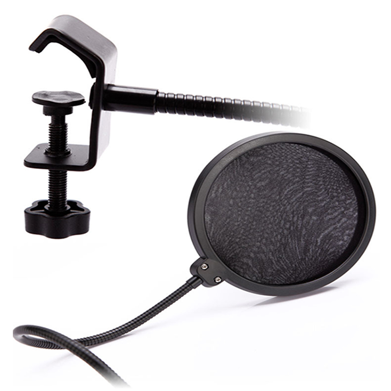 double layer recording studio microphone mic wind screen pop filter mask shield. Black Bedroom Furniture Sets. Home Design Ideas
