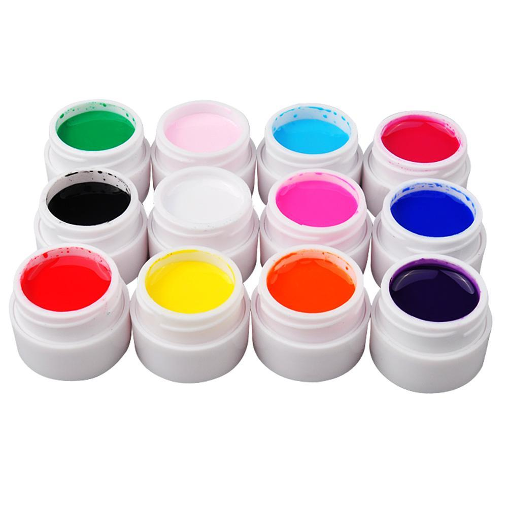 24 PCS Solid Pure Mix Colors UV Builder Gel Acrylic Set for Nail Art Tips
