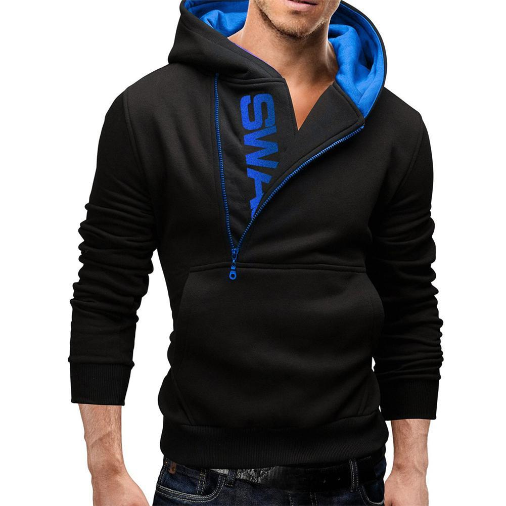 Stylish Men's Slim Warm Hooded Sweatshirt Zipper Coat Jacket ...