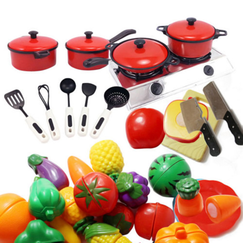 Play Cooking Toys : Children kids play toys kitchen utensils pots pans cooking