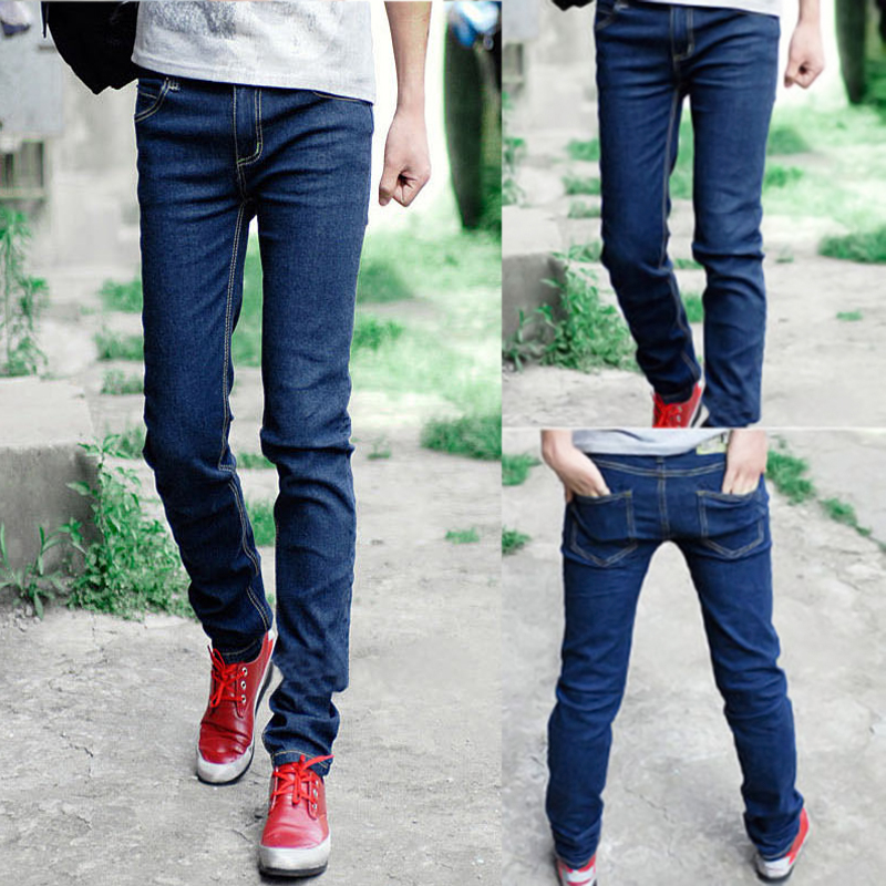 blaue d nne m nner skinny jeans skinny jeans hose beil ufige ebay. Black Bedroom Furniture Sets. Home Design Ideas
