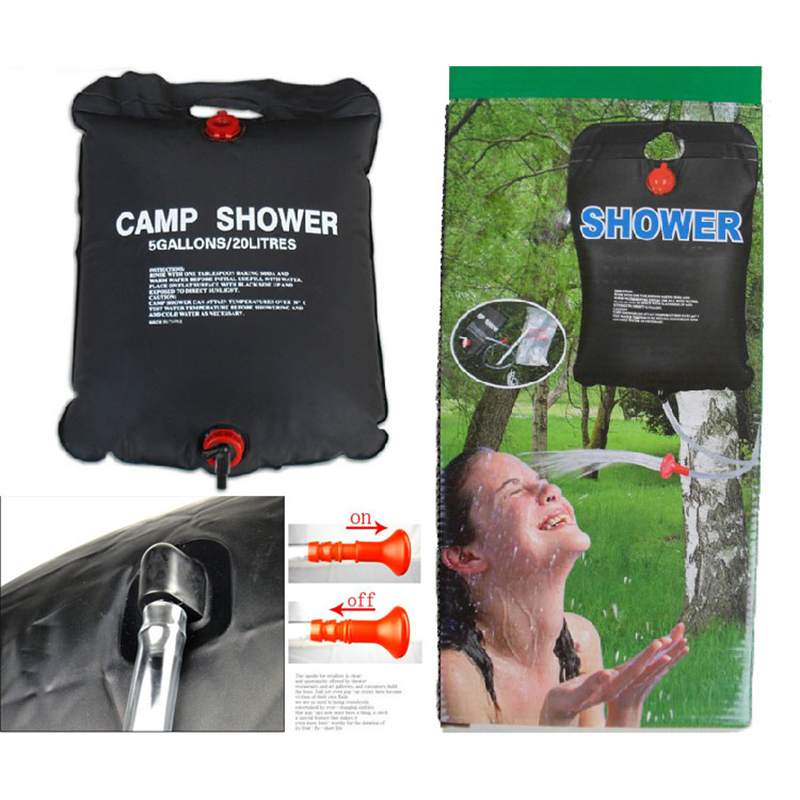 solardusche dusche 20 liter camp shower wassersack outdoor camping trekking neu ebay. Black Bedroom Furniture Sets. Home Design Ideas