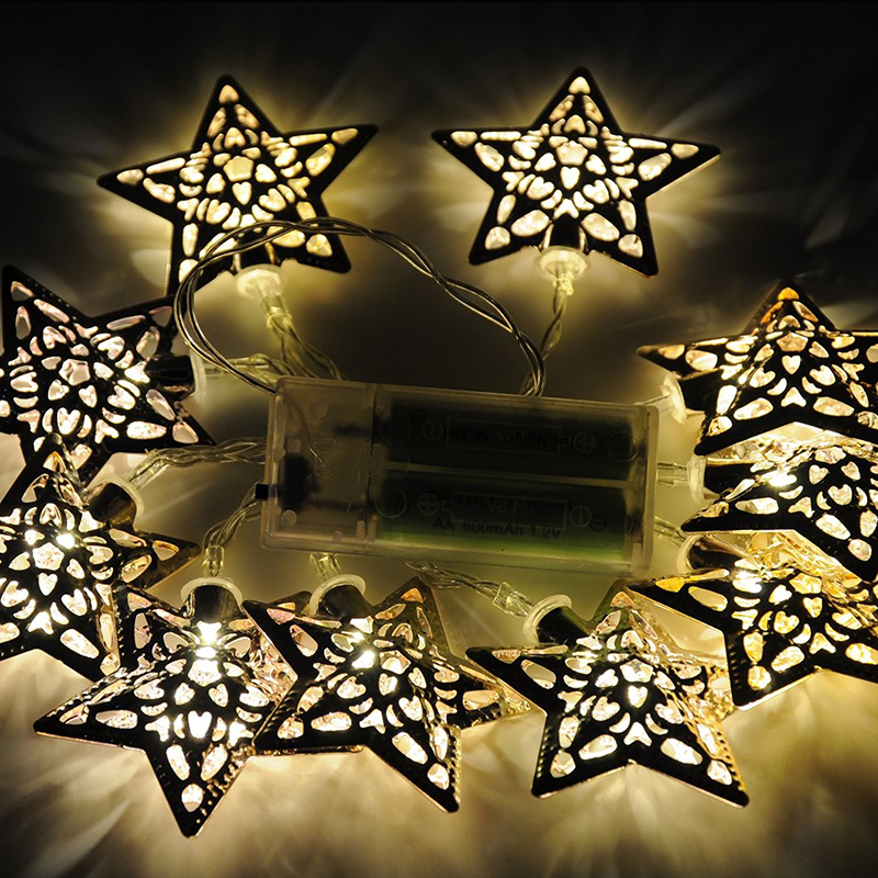Romantic 10 Metal Stars Battery Operated LED Fairy Lights String Christmas Party eBay