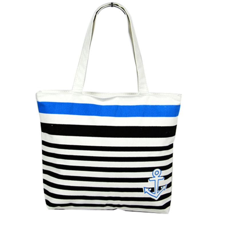 Women Girl's Stripe Canvas Shopping Shoulder Bags Handbag Beach Tote Large Bag
