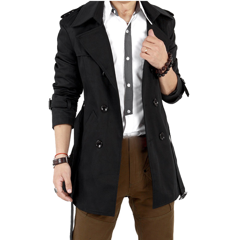 New Men's Winter Coat Long Jacket Slim Double Breasted Warm Overcoat Outwear