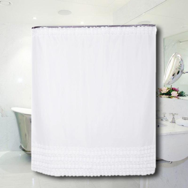 Shower Curtain Plain White Ruffled Princess Dress Polyester Bathroom 12 Hooks Ebay