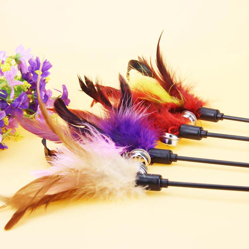 1pc funny pet cat play stick feather teaser pole rod wand for Diy cat teaser wand