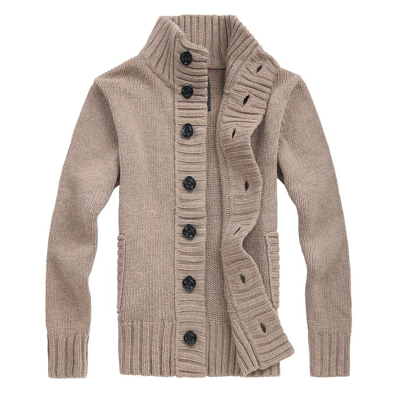 Men's knit cardigan sweater thick sweater coat Korean Slim line ...