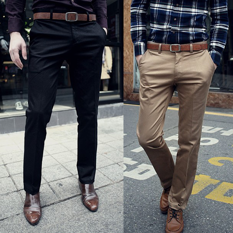 2016 Fashion Mens Formal Office Dress Pants Jeans Solid