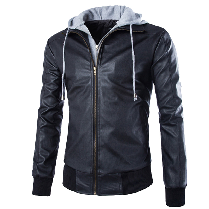 European Style Men's Motorcycle PU Leather Jacket Coat Slim Fit Hooded Hoodies