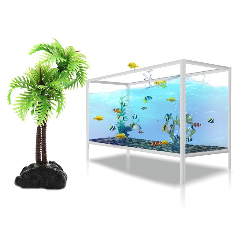 2pcs plastic coconut tree aquarium plants ornament for Fish tank tree