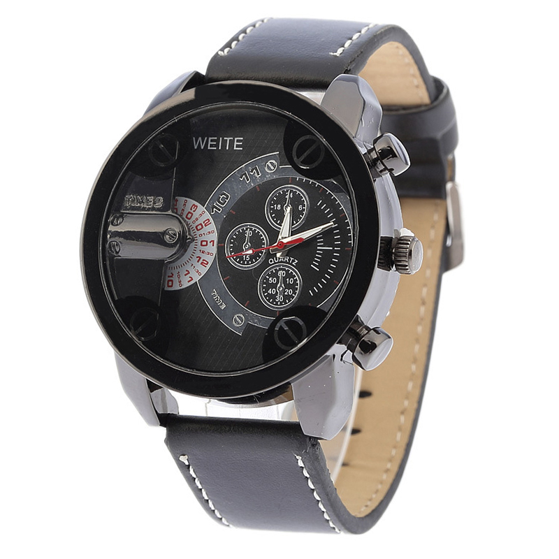 Men's Fashion Sport Stainless Steel Leather Band Quartz Analog Wrist Watch