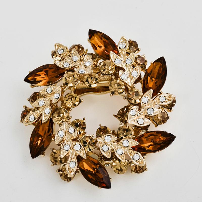 Elegant Womens Fashion Jewelry Diamante Flower Crystal Brooch Pins Rhinestone