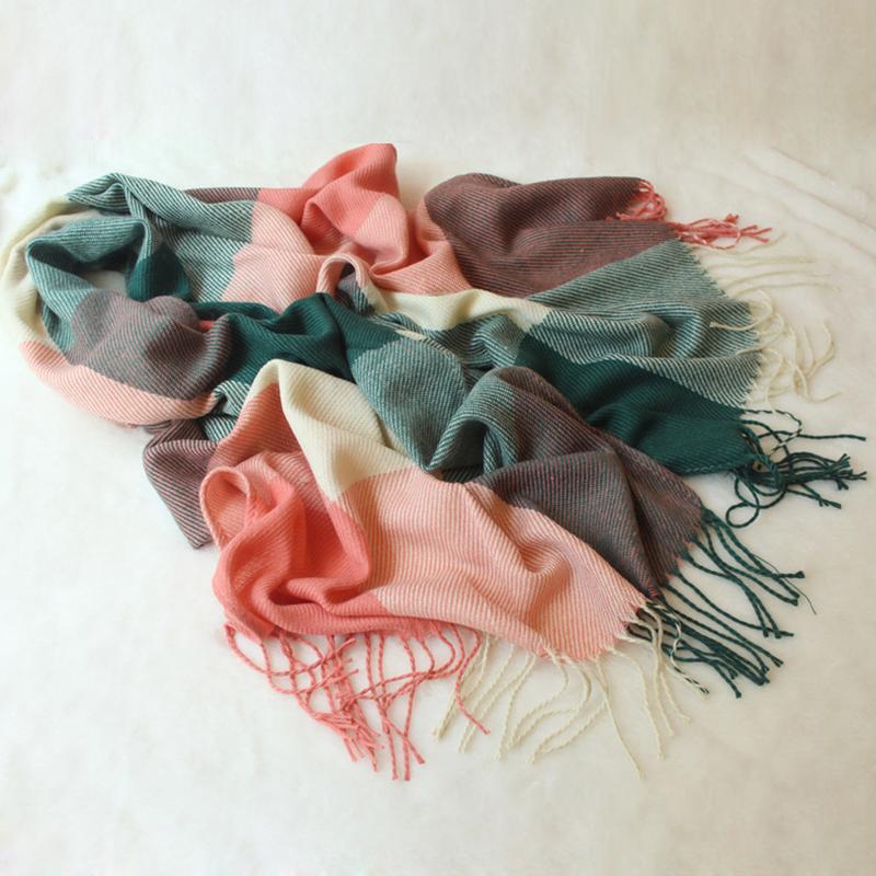 Warm  Winter Fashion Women Long Cashmere Wool Scarf Large Shawl Lady Plaid Scarf