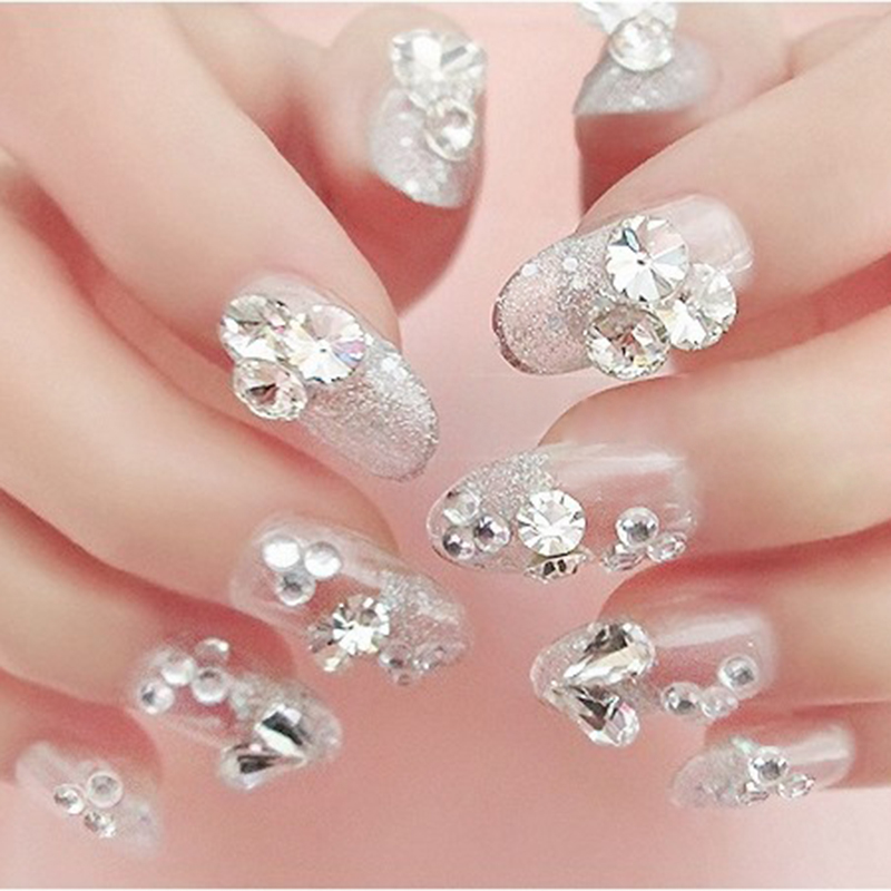 Sharp bottomed clear nail glitter rhinestones wheel 3d for Avon nail decoration tool