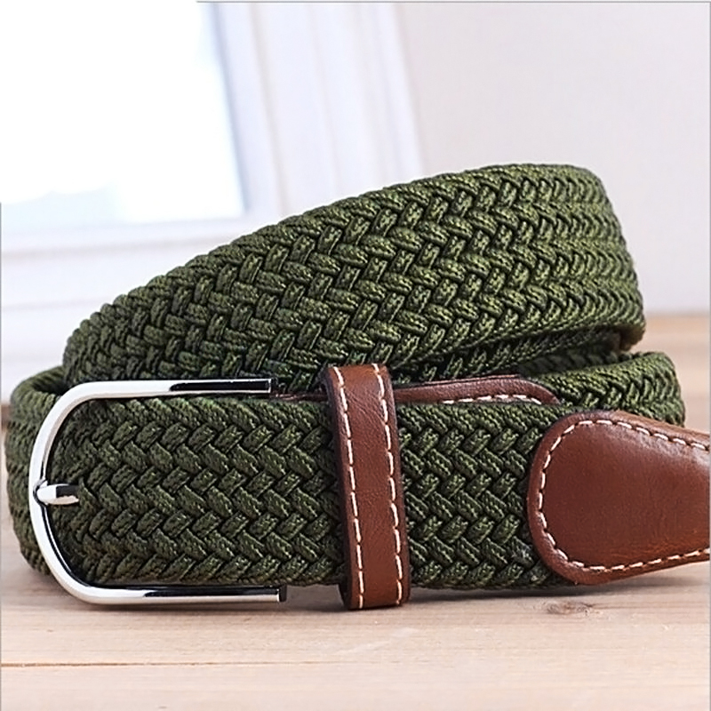 Mens Women Woven Stretch Braided Elastic Leather Buckle ...