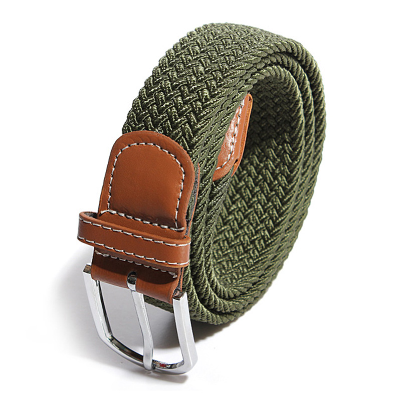 mens woven stretch braided elastic leather buckle