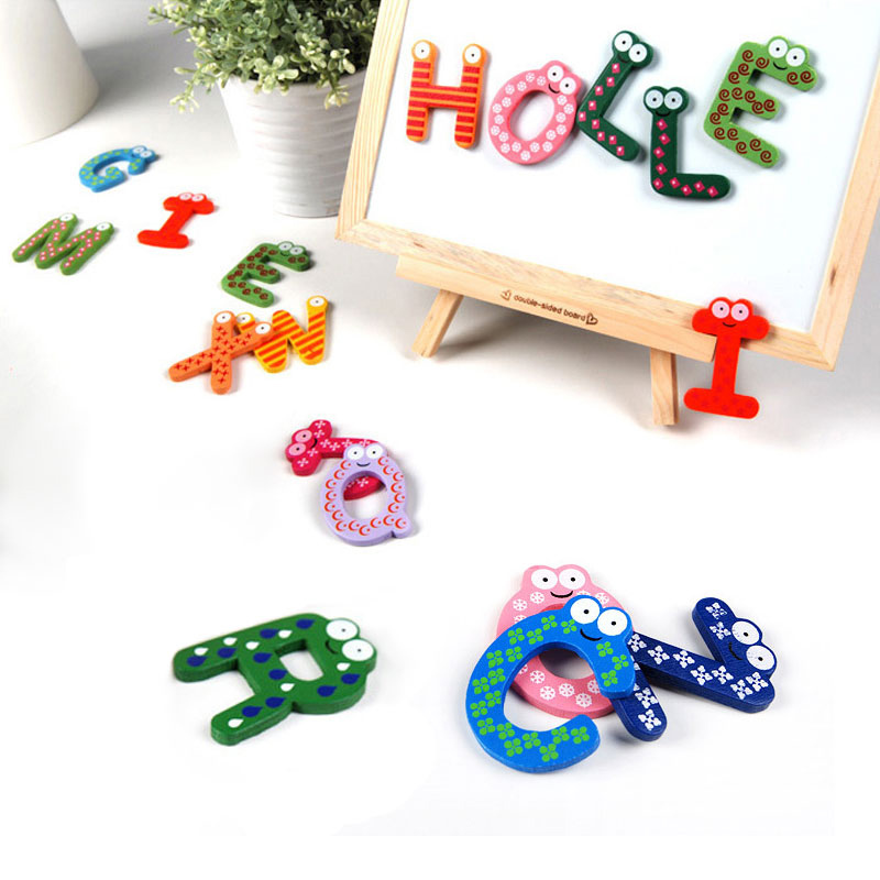 26pcs baby toys kids letters wooden alphabet fridge magnet With wooden letters toys