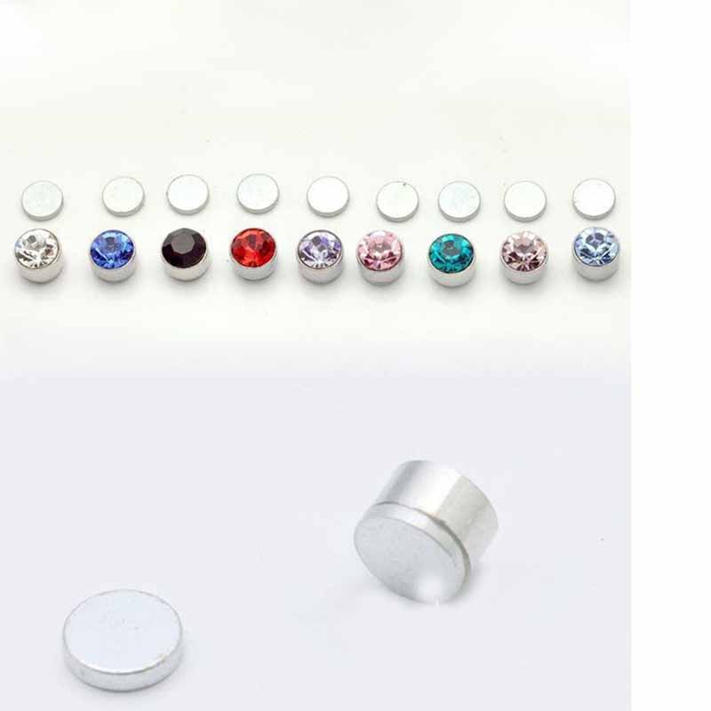 Brilliant Clear Round CZ Magnetic No Piercing Clip On Earrings Stud Pair For Mens Women