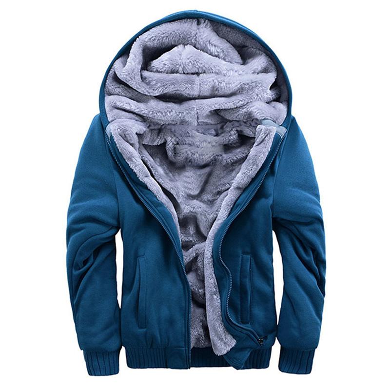 Hot Men's Winter Sweatshirts Jackets Thick Velvet Hooded Zip Coat Hoodies