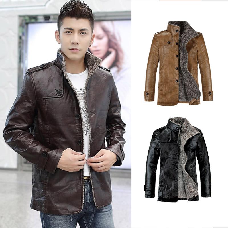 Fashion Men's Warm Jacket Faux Leather Coat Fur Parka Fleece ...