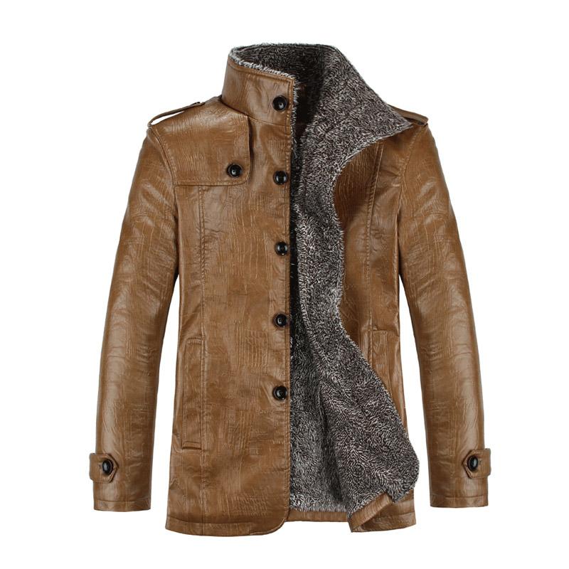 Fashion Men's Winter Jacket Leather Coat Fur Parka Fleece Jacket Slim Coat