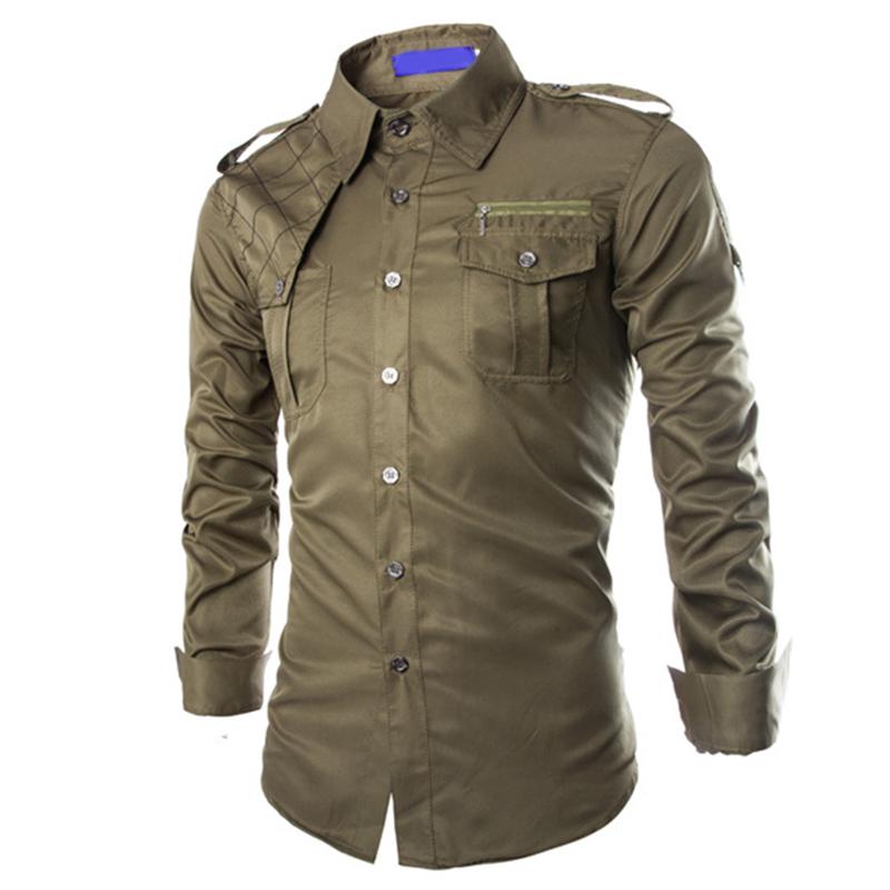 New men 39 s casual long sleeve epaulet shirts fashion formal for Uniform shirts for men