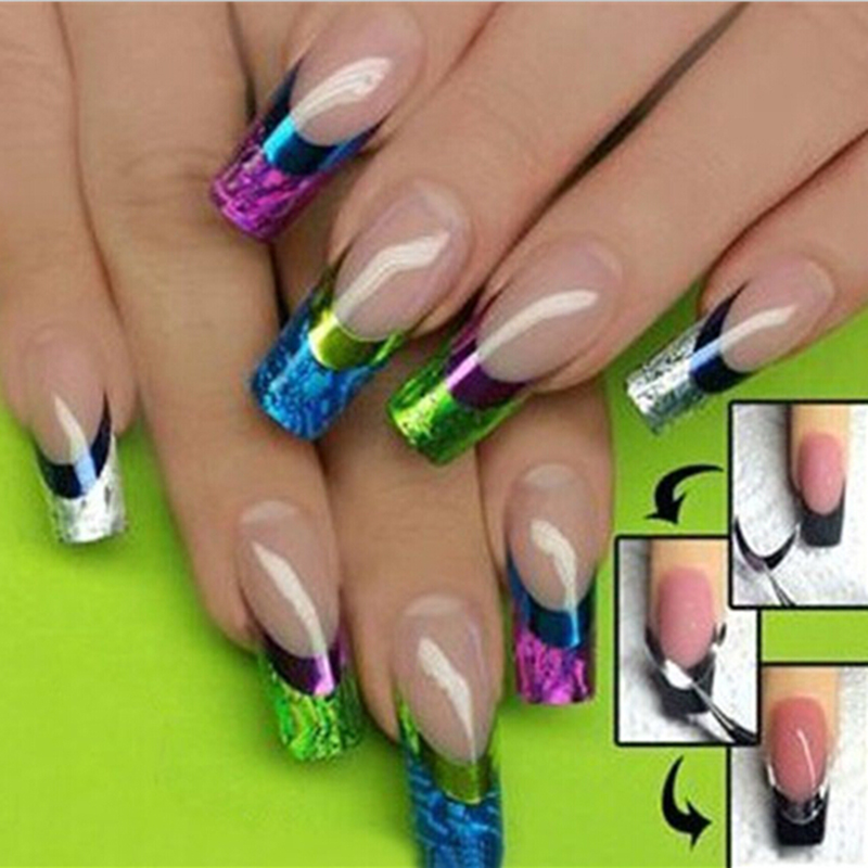 French nail art transfer stickers 3d color design manicure for 3d nail decoration