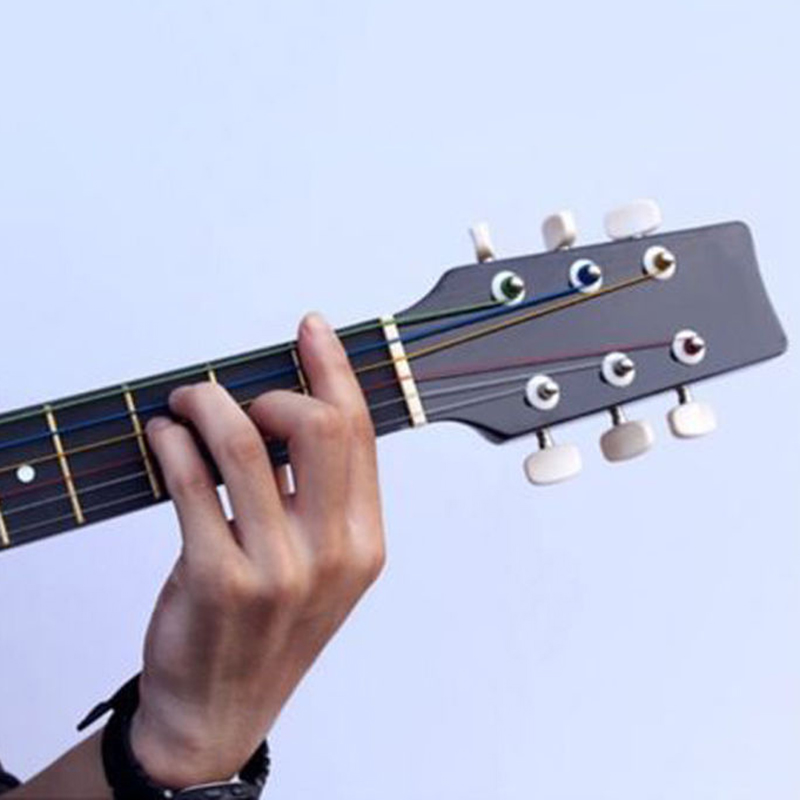 1 set 6 pcs new beauty stainless steel rainbow color strings for acoustic guitar ebay. Black Bedroom Furniture Sets. Home Design Ideas
