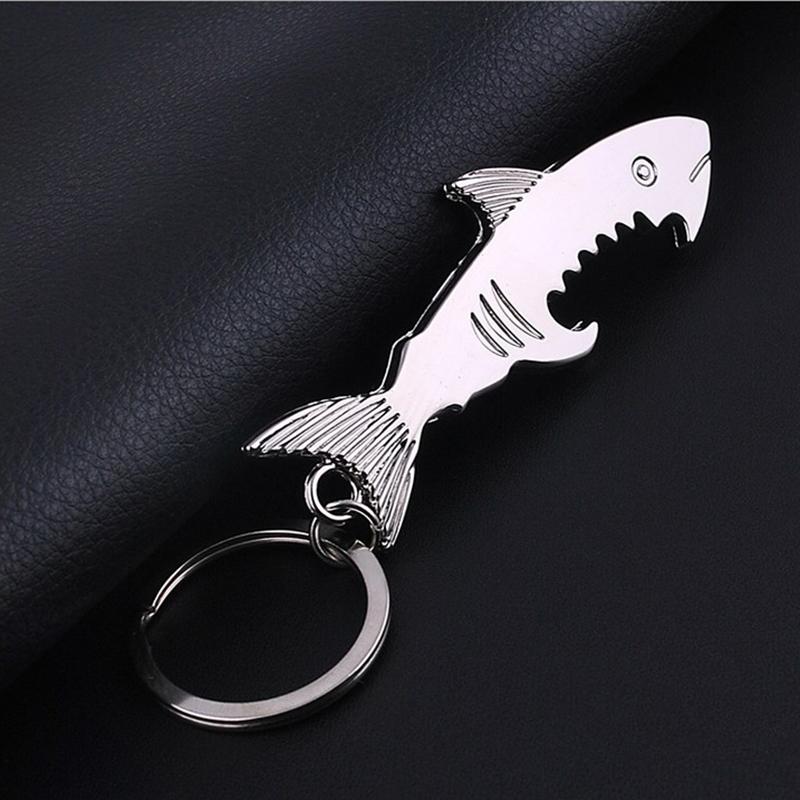 creative shark keyring bottle opener keychain silver metal key chain keyfob ebay. Black Bedroom Furniture Sets. Home Design Ideas