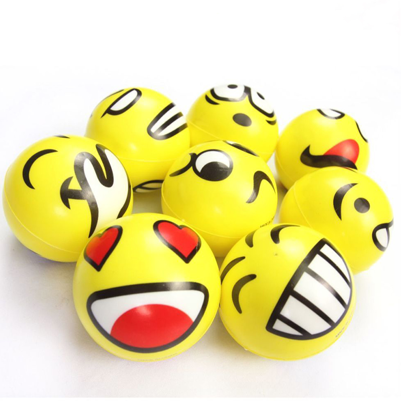2X Emoji Face Anti Stress Reliever Ball 7.5cm Stressball ...