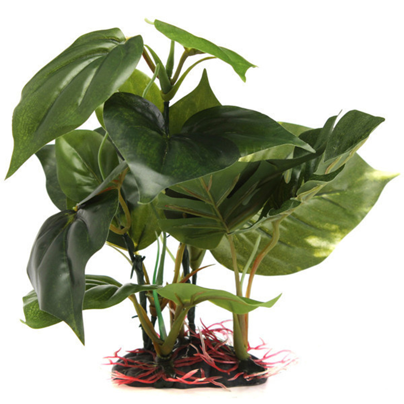 Artificial fake plant green plastic monstera aquarium fish for Fake pond plants