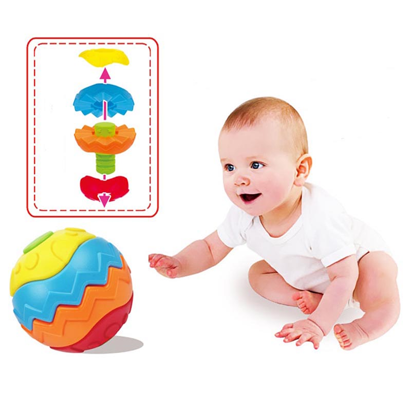 Funny baby kids greifen kugel puzzle montage frühe