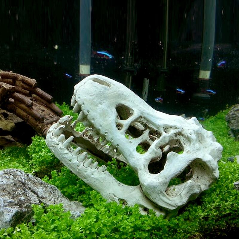 Crocodile skull resin decoration for aquarium terrarium for Fish tank skull decoration