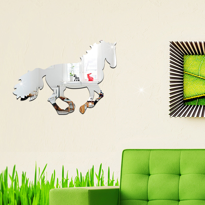 Office Wall Decor Set : D acrylic mirror running horse wall sticker decal home