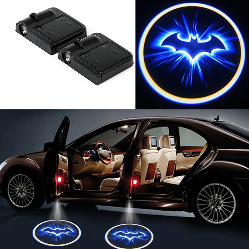 2x wireless logo 3d batman car door led welcome projector ghost shadow light new ebay. Black Bedroom Furniture Sets. Home Design Ideas