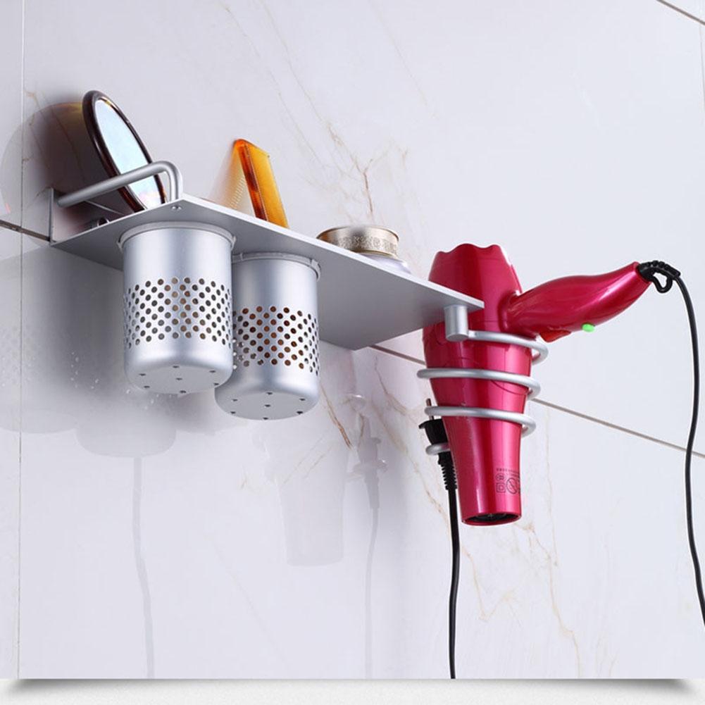 Aluminum Wall Mount Hair Dryer Holder Storage Organizer