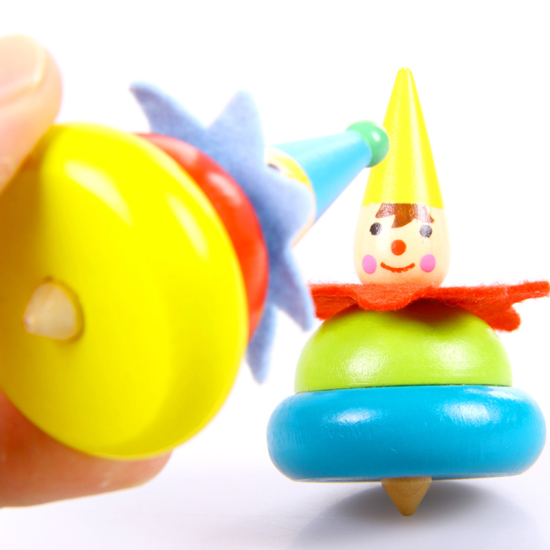 New Spin Toys : New clown spinning top colorful wooden toys classic