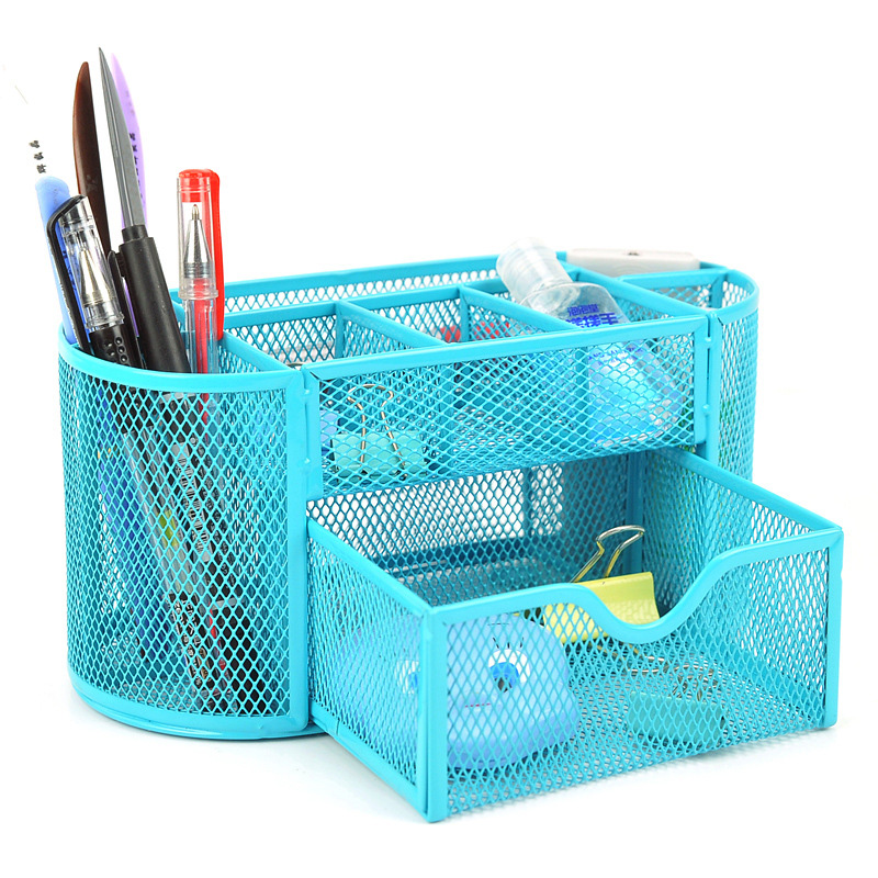 Desk Organizer 9 Compartments Metal Black Mesh Desktop