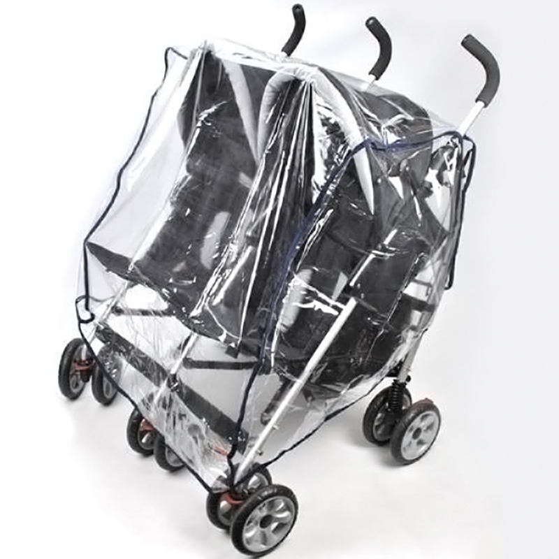 buggy pushchair stroller double side by side pram clear rain cover ebay. Black Bedroom Furniture Sets. Home Design Ideas