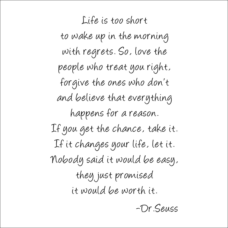 Dr Seuss Large Vinly Quotes Life Is Too Short Decal Kids