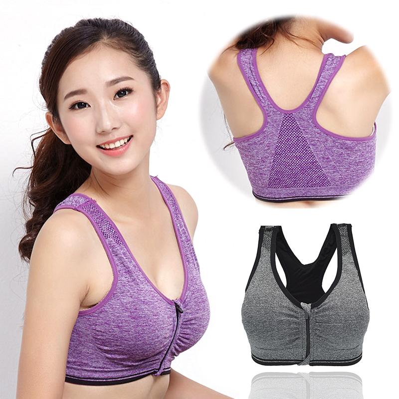 aeab12a80e Women Sport Bra Running Gym Yoga Padded Fitness Tops Tank Workout Zipper  Stretch - Shop   ezbuy Pakistan