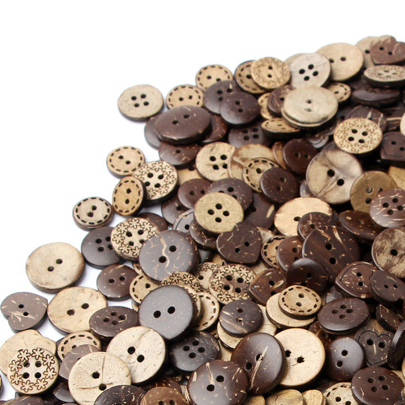 50 pcs new brown coconut shell buttons craft sewing. Black Bedroom Furniture Sets. Home Design Ideas